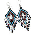 Beaded Geometric Seed Bead Dangle Earrings