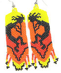 Beaded Kokopelli hand sead beaded dangle earrings