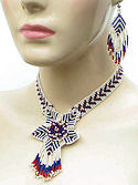 Beaded Flower Red White and Blue Necklace set.