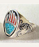Bear Paw Turquoise & Coral Ring
