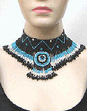 Black Blue & White Seed Beaded Choker Necklace