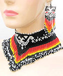 Black Double Eagle Beaded Choker Necklace & Earrings Set