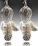 Silver & Black Guinea Feather Earrings