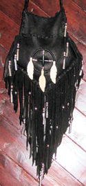 Medicine Wheel Long Fringed Buckskin Bag 2