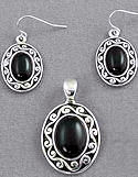 Black Onyx Necklace & Earrings Set