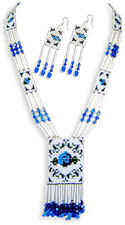 Blue  Rose Beaded Necklace & Earrings Set