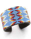 Blue Feather Wide Beaded Cuff Bracelet