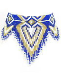 Blue Gold and White Seed Beaded Choker Necklace