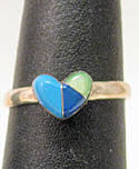 Turquoise, Lapis & Mother of Pearl (Blue and Green) Stone Heart
