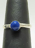 Round Blue Lapis Pinky Ring