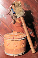 Rust Brown Buckskin Rabbit Fur Talking Stick