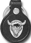 Buffalo Skull Leather Keychain