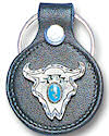 Turquoise Buffalo Skull Leather Keychain