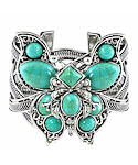 10 Stone Turquoise Celtic Butterfly Cuff Bracelet