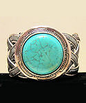 Celtic Inspired Round Turquoise Cuff Bracelet