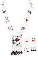 Red Rose Beaded Necklace & Earrings Set