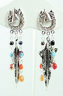 Horse & Horseshoe Feather Dangle Earrings