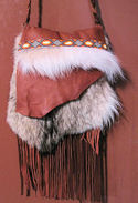 Coyote Beaded Buckskin  Fringed Bag