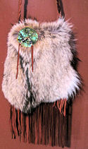 Coyote Fur Fringed Buckskin Shoulder Bag or Belt Bag