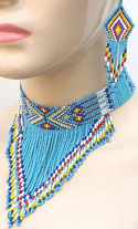 Turquoise Arrow Geometric Hand Beaded Choker & Earrings Set