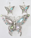 Crystal Butterfly Pendant/Brooch & Earrings Set