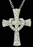 Crystal Cross and Heart Necklace
