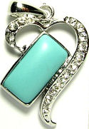 Turquoise and Cubic Zirconia Silver Heart Pendant