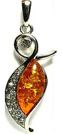 Amber and Cubic Zirconia Silver Pendant