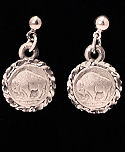 Diamond Cut Mini Buffalo Nickle Dangle Earrings