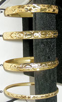 Diamond Cut Gold Plated Bangle Bracelets, Set of 4
