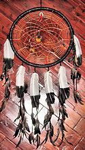 "15"" Eagle Feather Spider Web Pattern Dreamcatcher with Many Crystals"