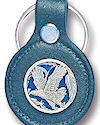 Enameled Flying Eagle Leather Keychain