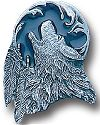 Enameled Howling Wolf with 2 Feathers Pin