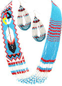 Turquoise Feather & Medicine Wheel Beaded Necklace and Matching