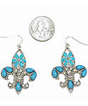 White CZ and Turquoise Petit Point Fleur de Lis Fashion Earrings
