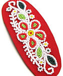 Red, Green and White Floral Design Beaded Barrette