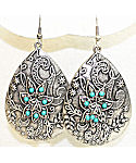 Antique Silver Floral Turquoise Fashion Earrings