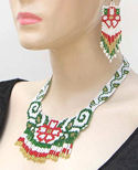 Red and Green Floral Seed Beaded Choker Necklace & Earrings Set