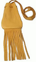 "3""x3.75"" Medium Fringed Black or Gold Medicine Bag with Neck String"