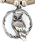 Diamond Cut Great Horned Owl Pendant