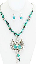 Great Horned Owl Turquoise Necklace & Earrings Set