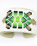 Beaded Green Turtle Wide Cuff Bracelet