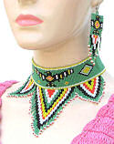 Green Thunderbird Beaded Choker Necklace & Earrings Set