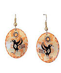 Haida Inspired Raven & Sun Dangle Earrings