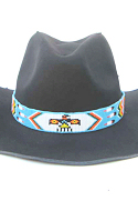 Turquoise Thunderbird and Feathers Beaded Hat Band