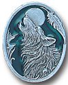 Enameled Wolf Head with Moon and Feather Pin