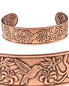 Embossed Hummingbird Copper Bracelet