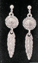 Diamond Cut Mini Buffalo Nickle Feather Dangle Earrings