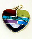 Inlaid Stone Heart Pendant with Chain