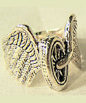 Motorcycle Wheel & Angel Wings Biker Ring